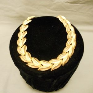 """Vtg Retro Chunky Gold Leaf Chain Necklace 17"""""""
